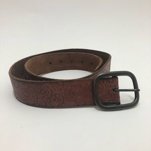 Gap Floral Laser Print Brown  Leather Belt Size M